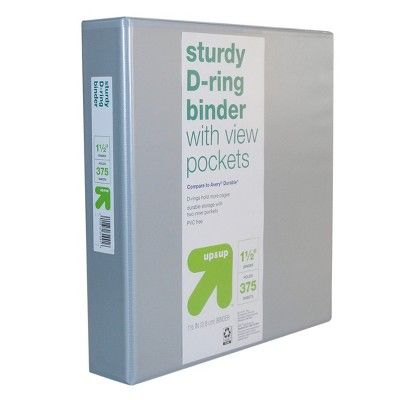 1.5 Durable 3 Ring Binder Clear View Gray - up & up