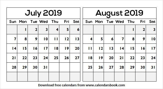 July to August 2019 Calendar | July 2019 Calendar | August