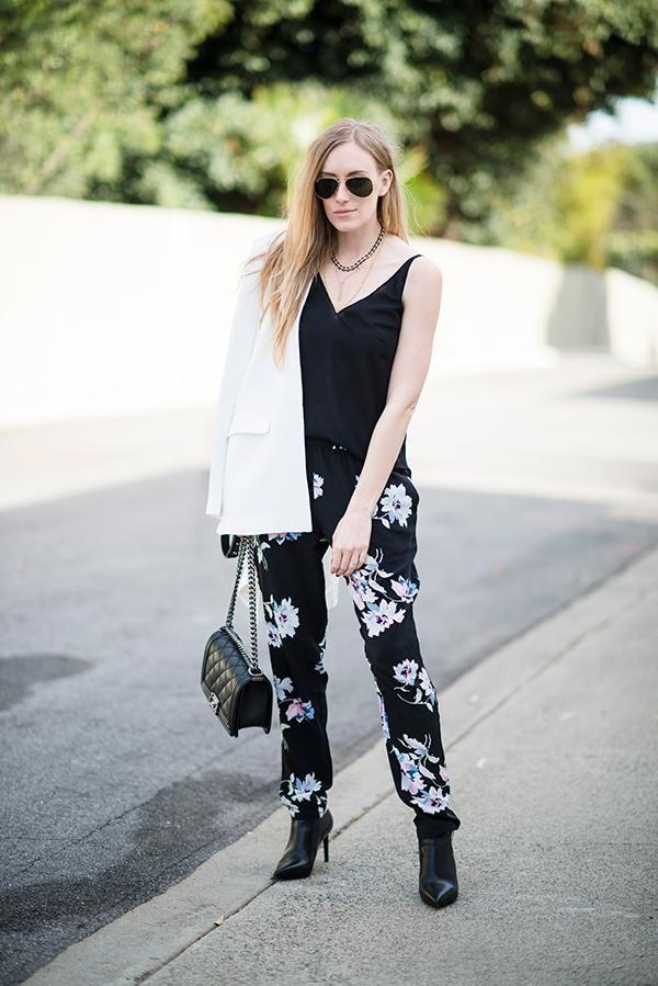 Eat Sleep Wear styles her JOIE Talina B Pants in our dark bouquet print
