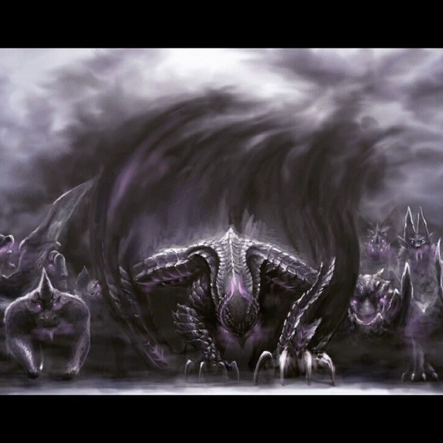 Gore Magala, with a number of frenzied monsters behind it, all from Monster Hunter.