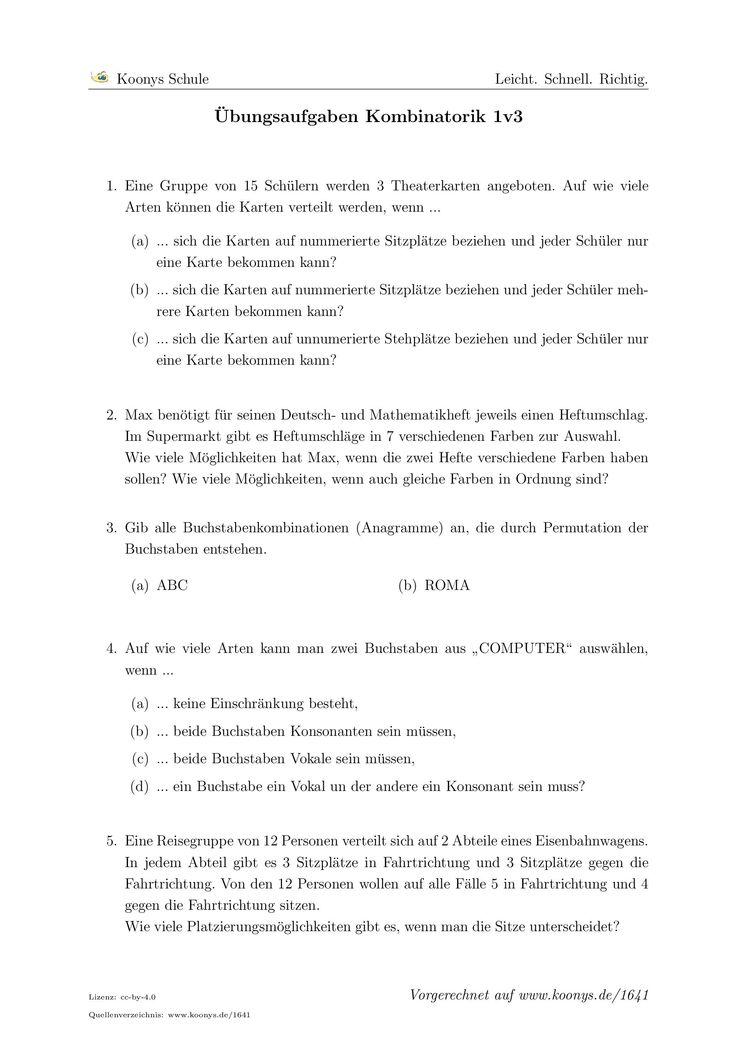 Übungsaufgaben Kombinatorik 1v3. Alle Aufgaben auf www.koonys.de/1641 vorgerechnet!