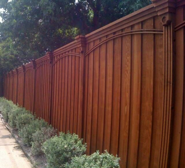 Decorative Cedar Fence Stained Redwood via ECCO Services