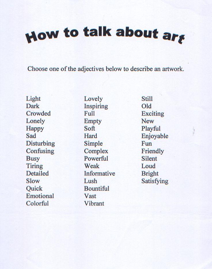 Critique Worksheet Elementary Art