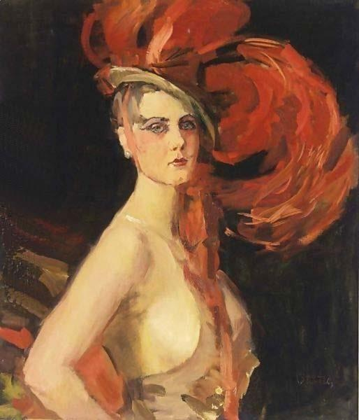 A Revue Girl At The Scala in The Hague, Netherlands.  Painted by Isaac Israels (1865 – 1934)