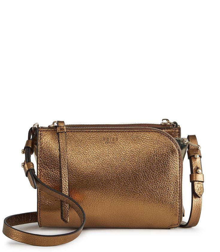 REISS ARNOTT MINI METALLIC MINI CROSS-BODY BAG GOLD. #reiss #bags #polyester #lace #leather #clutch #metallic #shoulder bags #lining #hand bags #