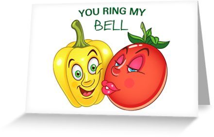 Funny Veggies in Love. Bell pepper and tomato. Valentines day humor. Comic quote: You ring my bell. • Also buy this artwork on stationery, apparel, stickers, and more.