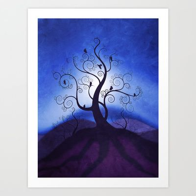 Beautiful landscape art print. sunset I by Viviana Gonzalez. #art #tree #circles $19.95