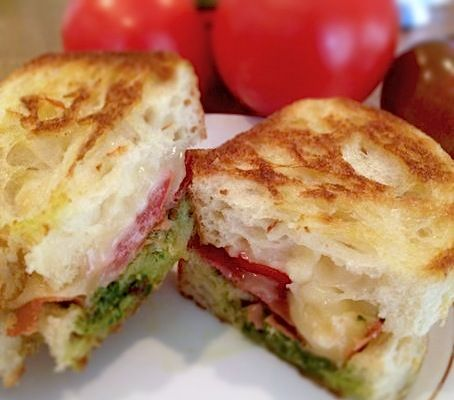 ... caramelized onions pesto and grilled mozzarella sandwich oh yum see