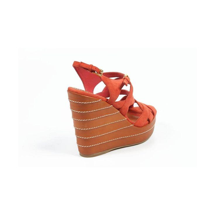 2 36 EUR - 6 US Sebastian Milano ladies espadrille wedge sandal 4200 CAMOSCIO CORALLO