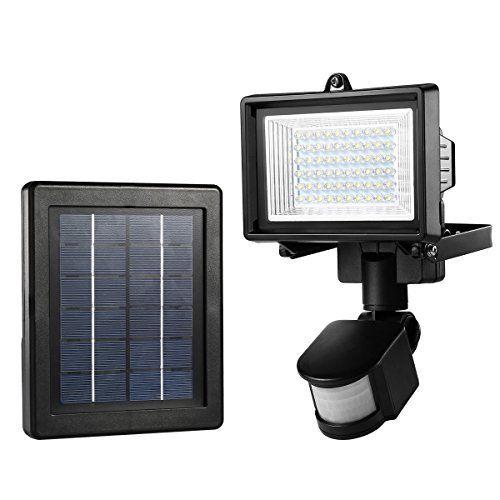 LE Projecteur Solaire LED Détecteur de Mouvements 60 LEDs, Étanche IP65, 6000K Lumière Blanche du Jour, Éclairage de Sécurité Extérieur…