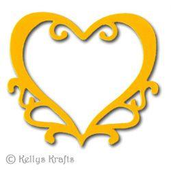 Large Fancy Ornate Heart Die Cut Shapes (Pack of 10)