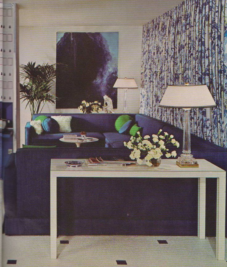 Cohama's Zsa Zsa draperies with giant purple playpen couch. Budget Decorating Summer 1968.