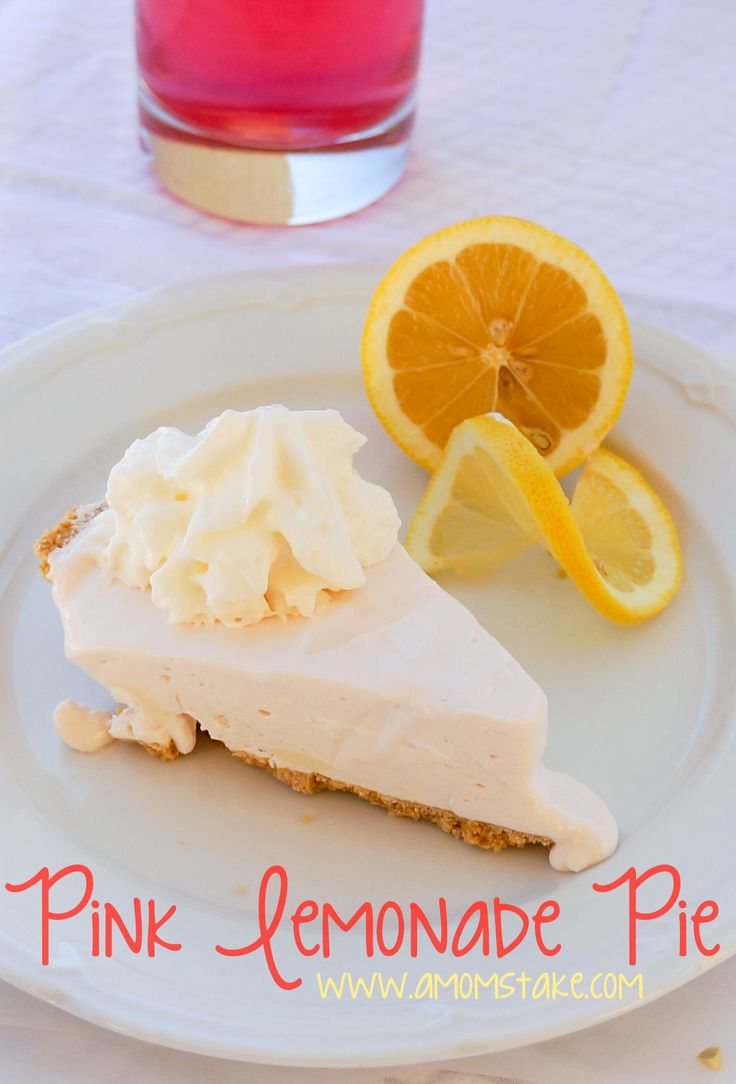 Frozen Pink Lemonade Ice Cream Pie Recipe - So cool and refreshing! #amomstake