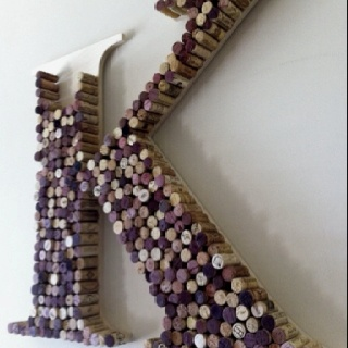 Wine Cork Initial - My Mom used to do crafts with wine corks. But then I guess they finished the decorating the kitchen.