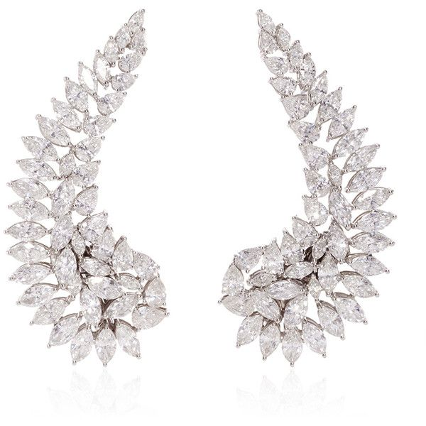 Vanleles  18K White Gold Classic Bridal Wings Earrings (154.975 BRL) ❤ liked on Polyvore featuring jewelry, earrings, jewels, 18k jewelry, 18k white gold earrings, wing jewelry, white gold jewellery and white gold earrings