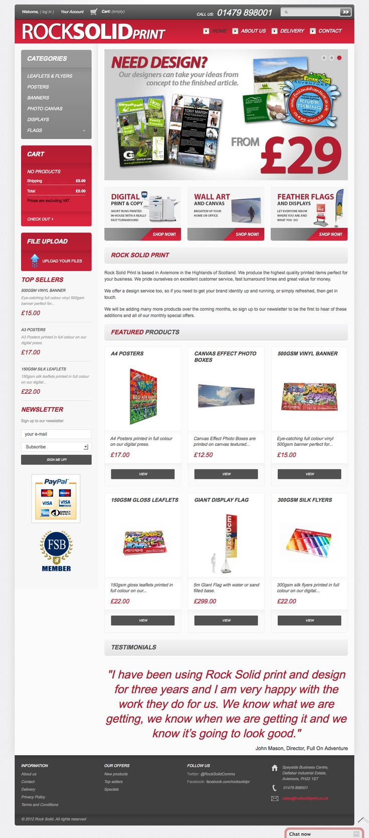 This is our online print store, built using Prestashop. You can order your print and display products quickly and easily here.