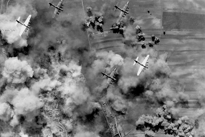 B-17 Fortress bombers flying from Italy on a raid to bomb the rail yards at Weiner Neustadt near Vienna Austria April 1944.