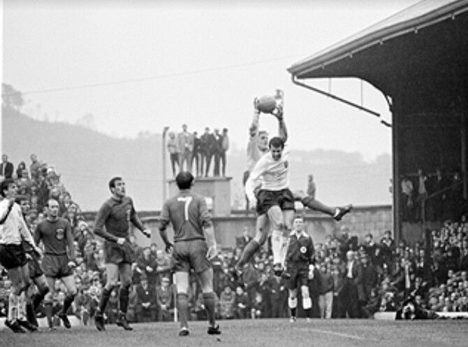 Wales keeper Gareth Sprake snatches off England striker Geoff Hurst during a 1967 Home International at Ninian Park