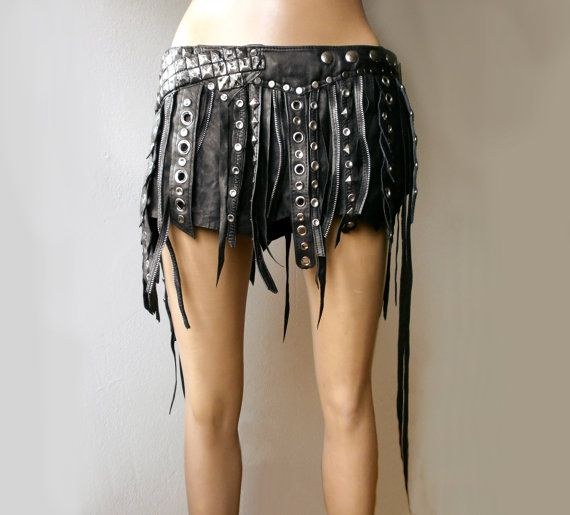 Dream Warriors black leather wrap mini skirt. by DreamWarriors