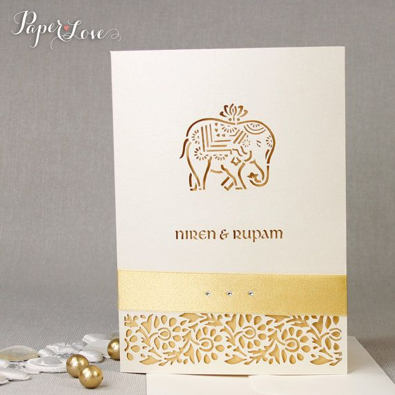 Cream Metallic Elephant Laser Cut Indian Hindu by PaperLoveAsia