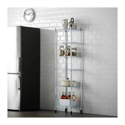 In Garage near Fridge & Freezer - Maybe Between??? - OMAR 1 section shelving unit IKEA Easy to assemble – no tools required. Also stands steady on an uneven floor since the feet can be adjusted.