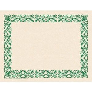 Art Deco Green Border Paper! Design and create your very own invitation, program, diploma, award or certificate with this original preprinted border and your favorite word processor or page layout program. 50/pack