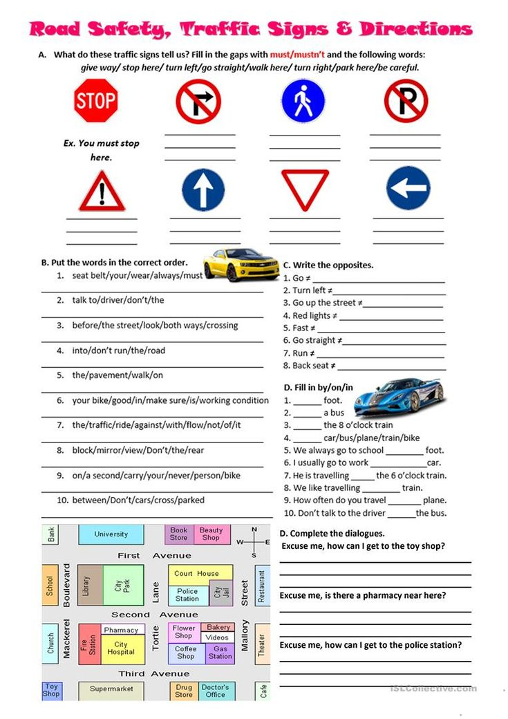 Road safety, traffic signs and directions worksheet Free