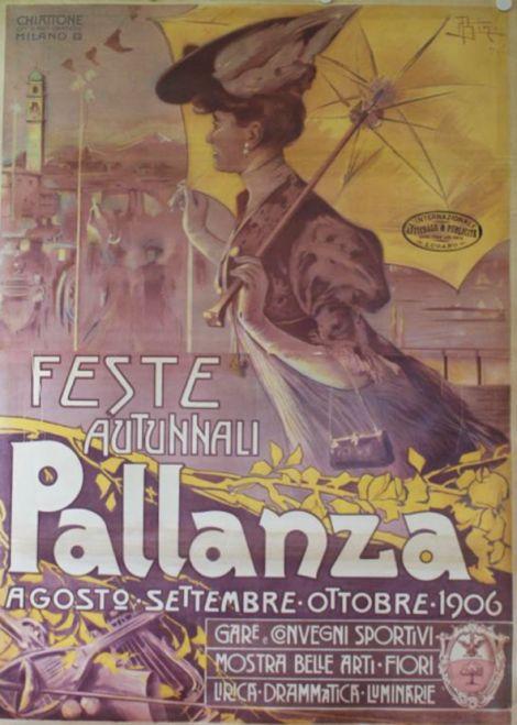 1906 Pallanza agosto settembre ottobre Gare e convegni sportivi mostra belle arti - fiori Archivio Iconografico del Verbano Cusio Ossola Svizzera poster viaggio