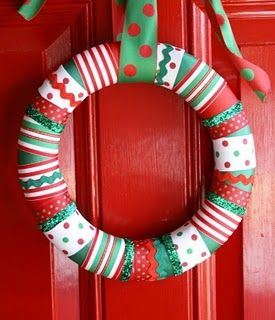 And...the Christmas version...use straight pins to hold ribbon in place.