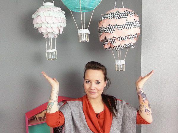 VIDEO-DIY: Heißluftballon-Lampe für das Kinderzimmer basteln - Baby + Kind bei DaWanda
