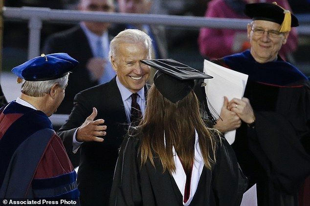 Vice President Biden embraced his granddaughter Naomi after she picked up her certificate at the ceremony