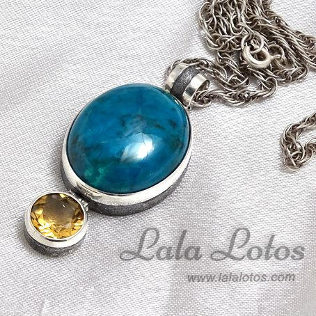 July Sky chrysocolla and citrine earrings by Lala Lotos.