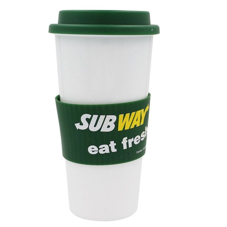 480ML Takeaway Plastic Coffee Cups With Lid, Reusable White Plastic Sports Cups