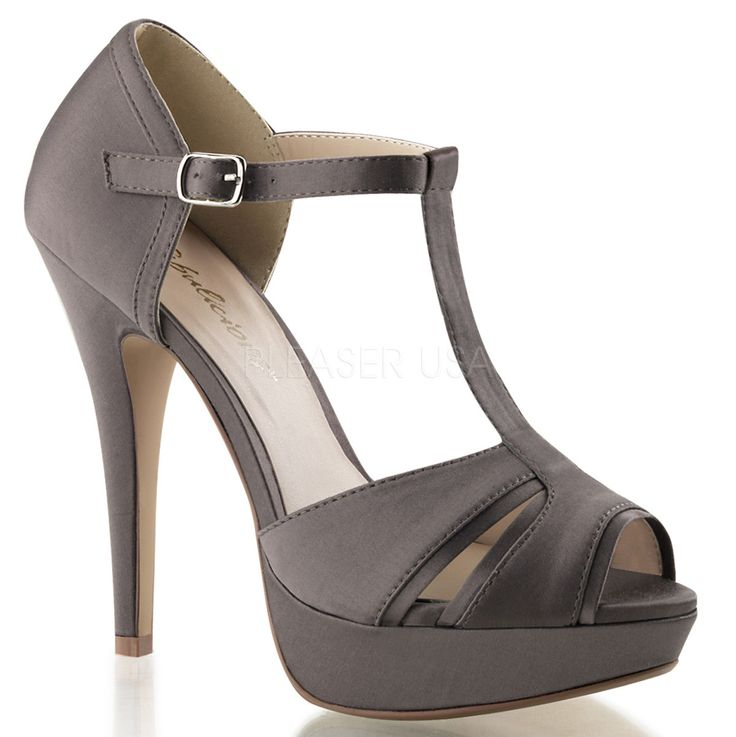 Grey Rockabilly Retro 5 Inch High Heels w/ 1 Inch Platform