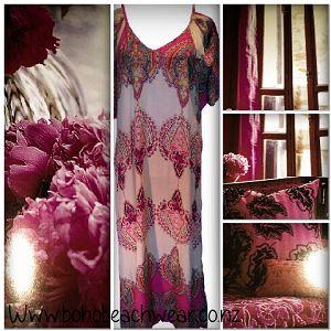 Fuchsia and Cream Maxi Dress