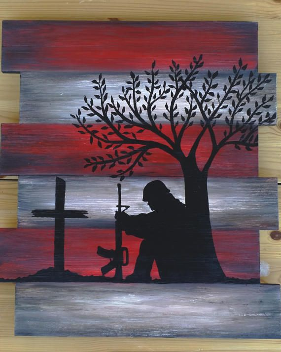 Flag wood art, memorial wall decor, soldier and cross silhouette, American flag wood pallet, American flag painting