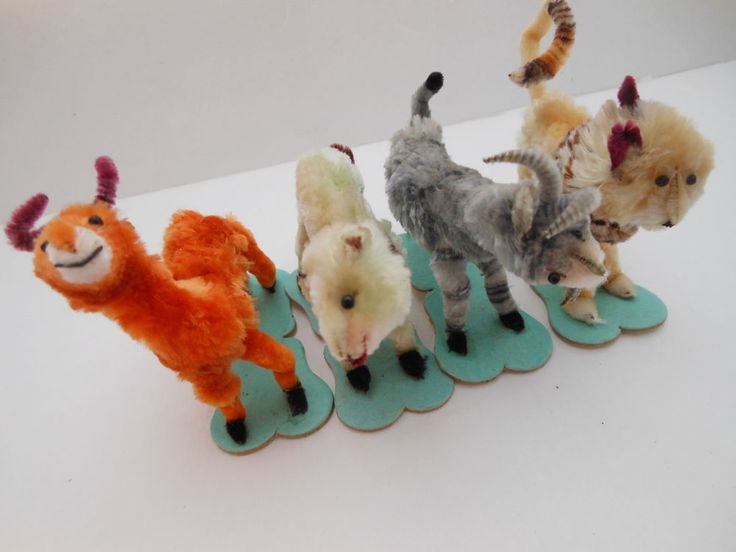 Fluffy chenille pipe cleaner cuteness. Lot 4 zoo or circus animals. See last pic.grey animal has only one rear leg. Still uncertain about size?. Compare to pieces you already own! A ny desired cleaning is left to the new owner. | eBay!
