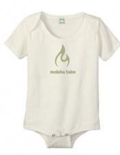 These adorable and soft organic cotton 'Moksha Babe' onesies come in sizes 3- 6 months and 6-12months.   All printing done with water-based, non toxic inks.  For each one you buy, one tree is planted!  - $25