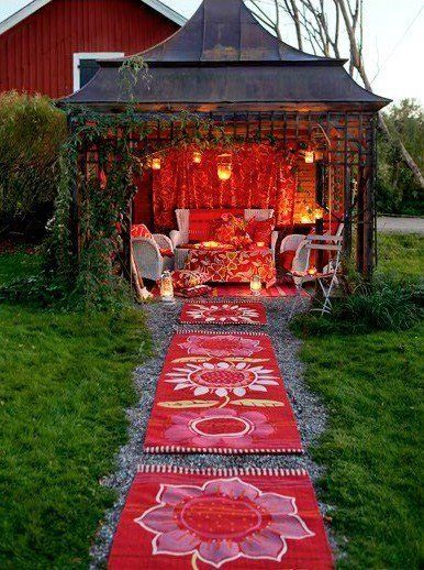 boho chic..love outdoor love nests Costco has a beautiful outdoor black metal patio and.cover 1200 $ Its gorgeous.Add fabric and lights and Hello Fabulous!