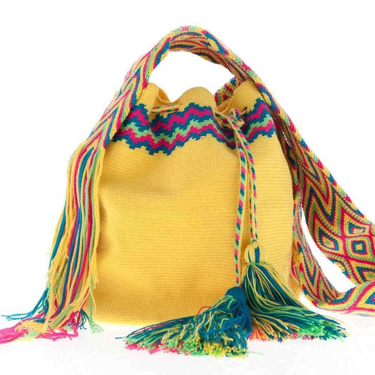 Wayuu Bag :: Wayuu Taya Mochila Round Bag : Hand-woven in Yellow with Multi-Color Strap