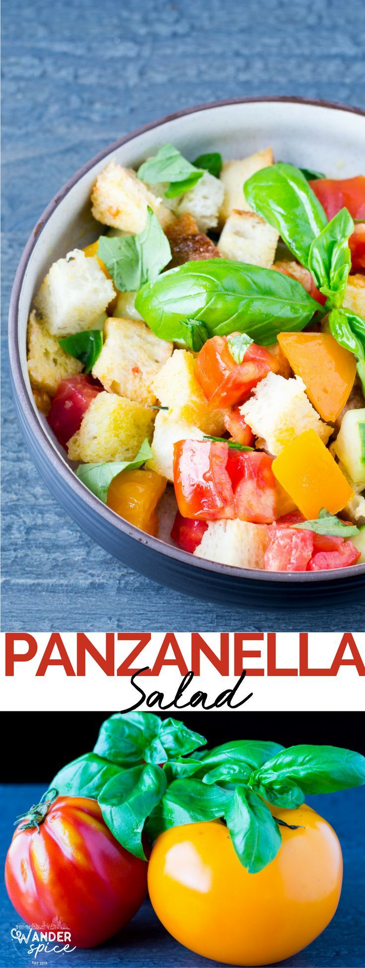 Panzanella Salad - chunky tomatoes, big basil leaves, torn bread doused in olive oil and vinegar.