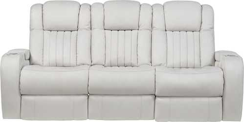 Servillo White Leather Dual Reclining Sofa Rooms To