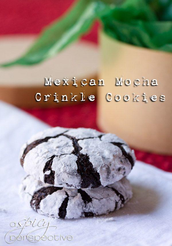 Fudgy Mexican Mocha Crinkle Cookies   ASpicyPerspective.com #christmas #cookies #recipe