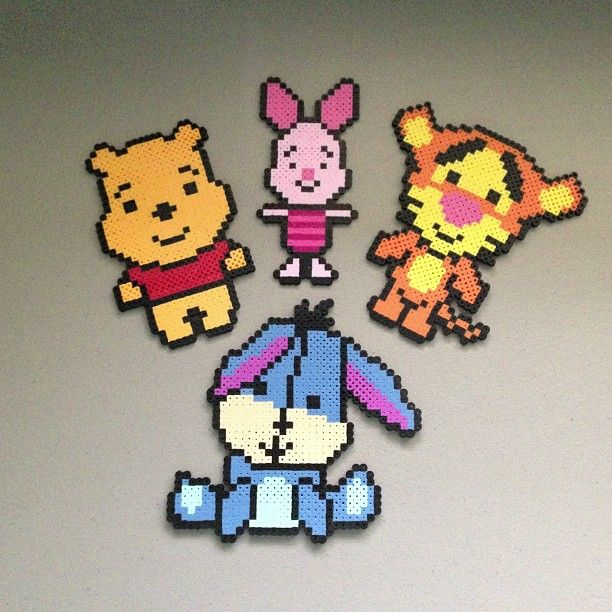 Winnie the Pooh and friends hama perler beads by christina_eats