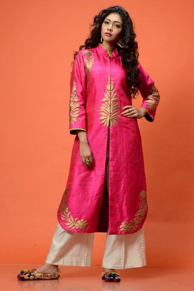 Alluring Pink raw silk Kurta Jacket Set front-open jacket with golden embroidery on the yoke and borders teamed up very well with simple white pants.  #Pants #Pink #Jacket #Golden #Kurta #AmbrishDamani #CarmaOnlineShop #WorldWedeShipping #FestiveSeason #ShopNow