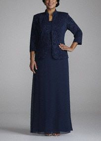 Unique and elegant, perfect for any Mother of the Bride or Special Occasion guest!  Dress features Jacquard Mandarin neck jacket and bodice.  Long chiffon skirt is comfortable and figure flattering.  3/4 sleeve jacket is stunning and offers the perfect amount of coverage.  Fully lined. Back zip. Imported acetate/poly/spandex blend. Hand wash cold.