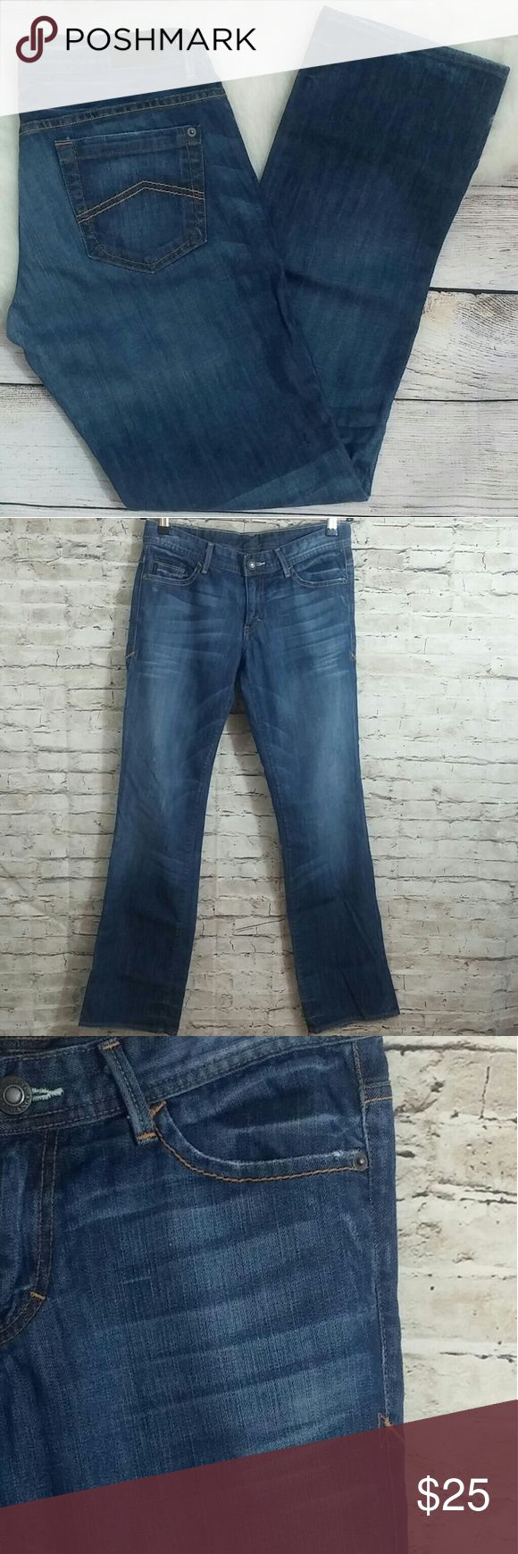 """Armani Exchange Potassium Whisker Distressed Jeans Armani Exchange ~ Potassium Whisker Distressed Denim Jeans. Size 8, In Good Pre-Owned Condition With Wear On Hems.   Waist 15"""" Rise 8"""" Inseam 32"""" Straight Leg Cotton Blend  Factory Distressed   No Trades, Offers Welcome! Thanks For Looking! Armani Exchange Jeans Straight Leg"""