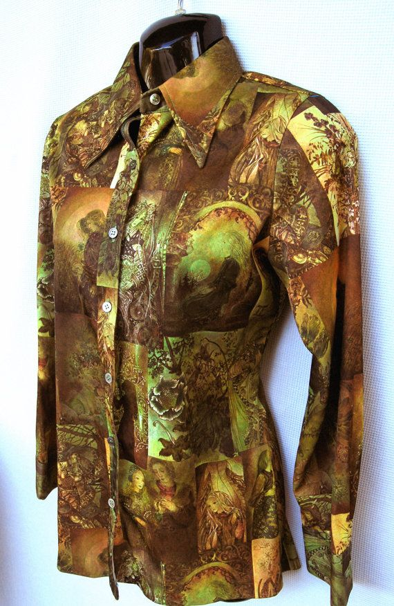 Vintage 70's Graphic Fairy Tale Polyester Blouse
