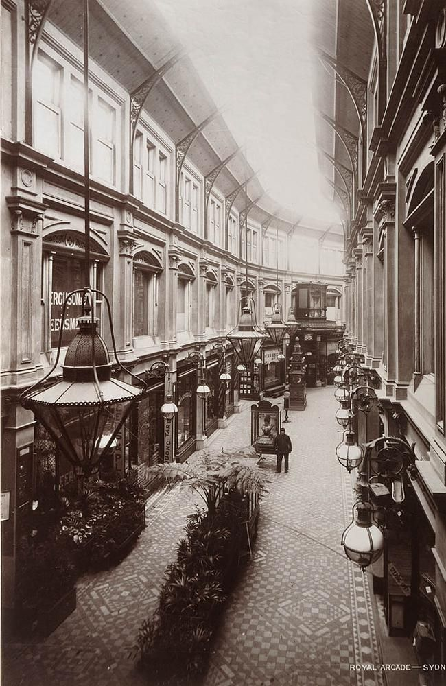 Royal Arcade Sydney, 1892. This arcade ran from George Street through to Pitt Street,Sydney, opening in 1882. It disappeared in the mid 1970's beneath the Hilton Hotel.