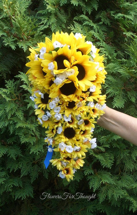 Cascading Or Waterfall Sunflower Bouquet Yellow And Blue